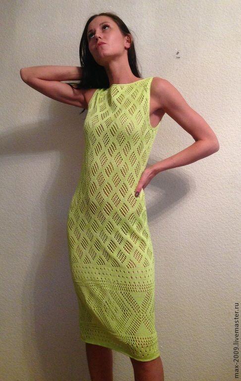 Купить Платье вязаное ЛИПА - салатовый, однотонный, платье летнее, платье вязаное, стильное платье