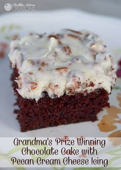 Grandma's Prize Winning Chocolate Cake with Pecan Cream Cheese Icing