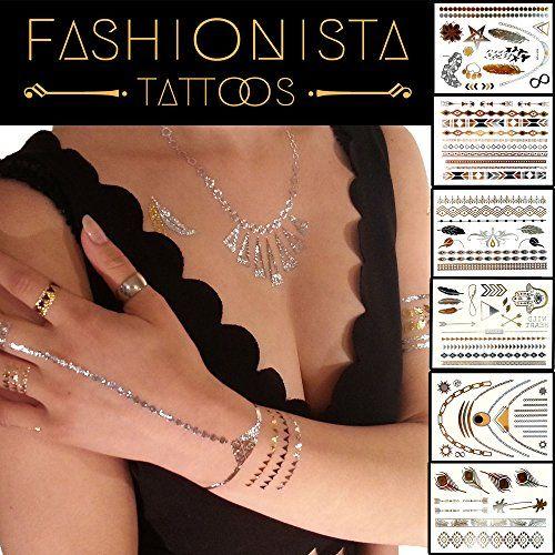 Fashionista Flash Tattoos - Best 87 Metallic Temporary Tattoos on 6 Sheets in Gold, Silver and Black Elegant Design Fashionista Tattoos http://www.amazon.com/dp/B00ZTCMP0W/ref=cm_sw_r_pi_dp_wi73vb1K8G1EK