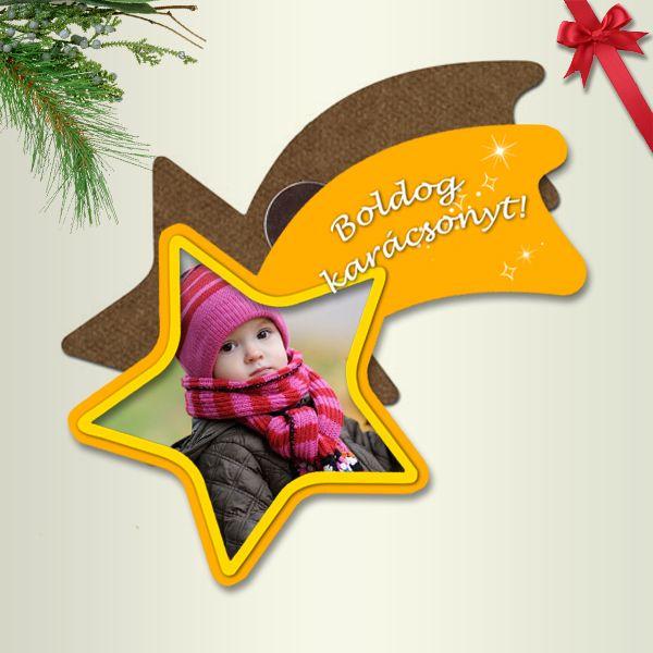Fényképes karácsonyi hűtőmágnes - üstökös
