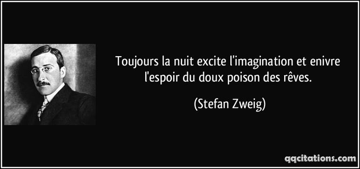 Toujours la nuit excite l'imagination et enivre l'espoir du doux poison des rêves. - Stefan Zweig