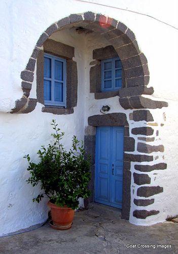 Blue door and windows in Chora - Island of Patmos, Greece