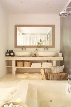 What is that grey wall- stone, cement?  Natural chic bathroom by South African designer Laurie Owen