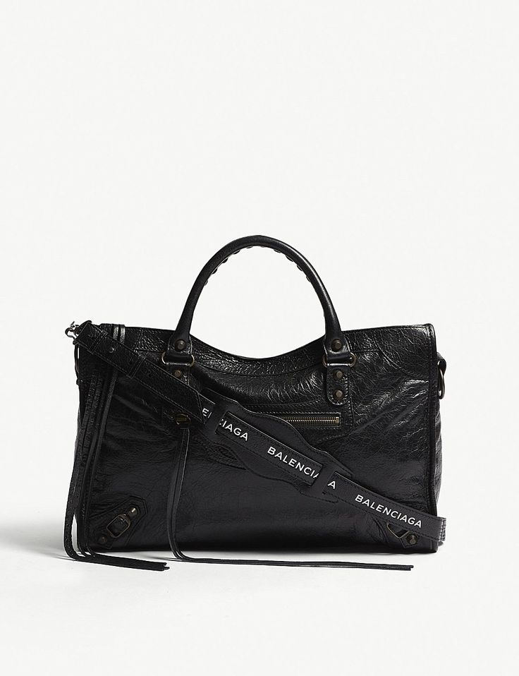 BALENCIAGA Classic City striped leather shoulder bag
