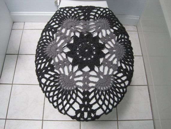 Crochet Toilet Seat Cover dark grey/true grey TSC9F por ytang
