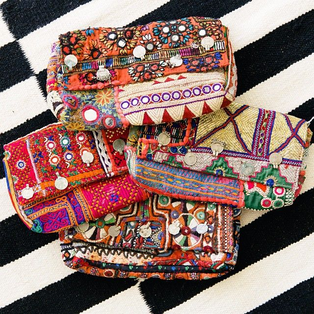 tribal print clutches.