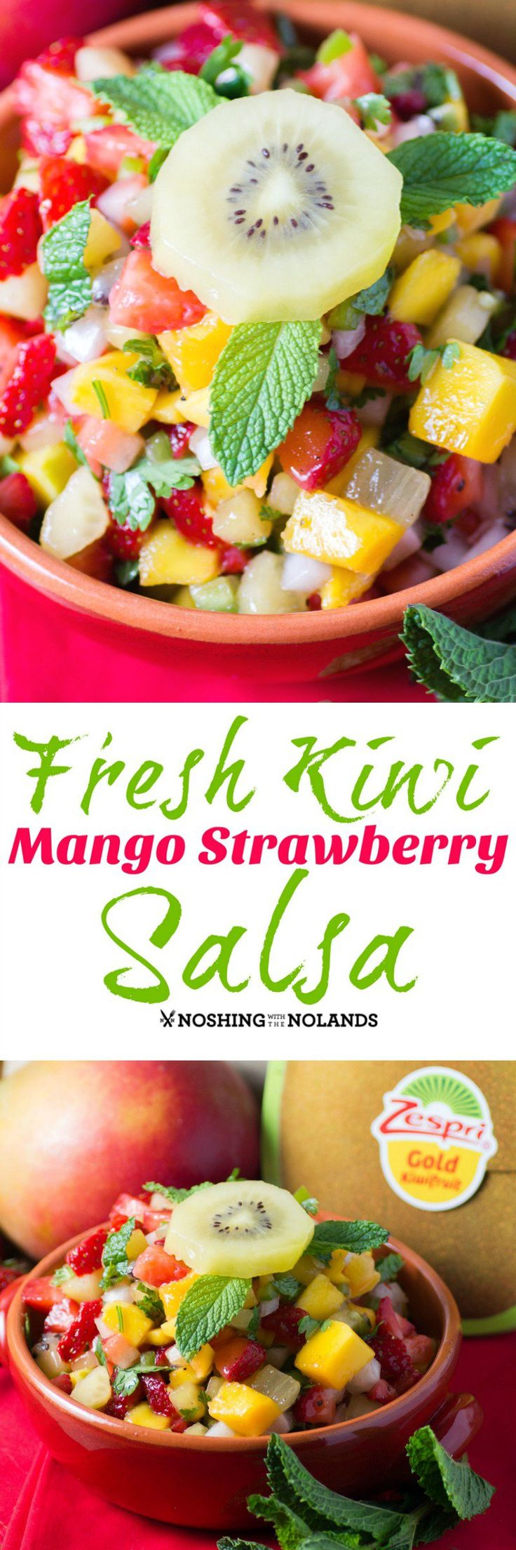 Fresh Kiwi Mango Strawberry Salsa by Noshing With The Nolands is one gorgeous summer salsa using Zespri SunGold Kiwifruit. You can serve this with nachos, fish or tacos!