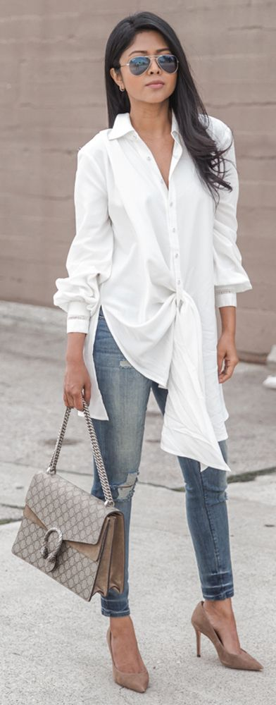 gucci bag | skinny jeans | white blouse