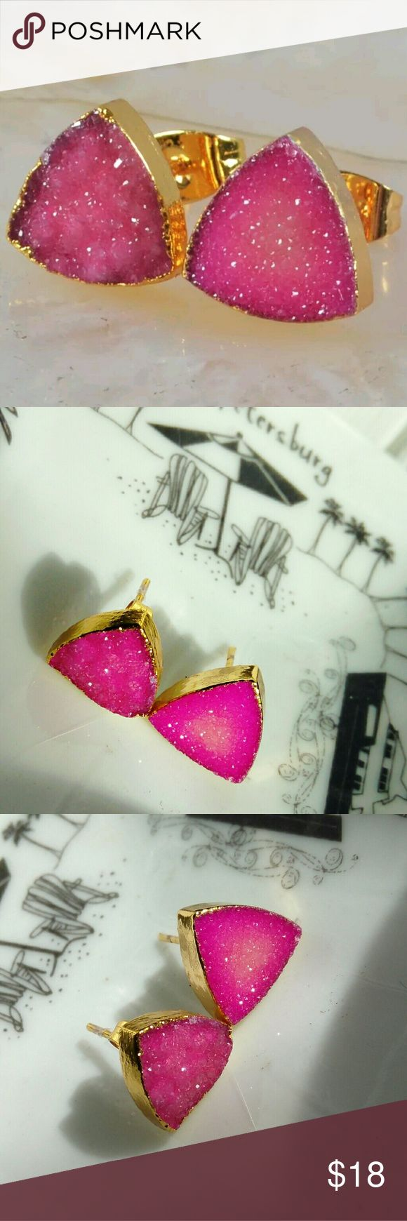 Pink Triangle Druzy stud earrings 10 mm  Striking bright pink colored Druzy earrings   Perfect for brightening your spring wardrobe  It's a Natural product so please note that while this is a pair, the two earrings are not perfectly identical The first picture shows it the best Jewelry Earrings