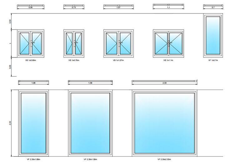 Plano de carpintería de ventanas utilizadas para diseño de una vivienda. Realizado con AutoCad.