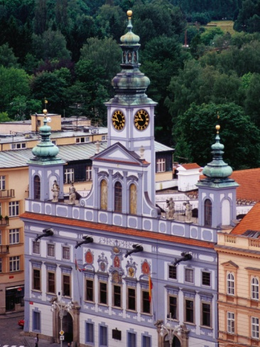 Town Hall Seen from Black Tower, Ceske Budejovice, Czech Republic