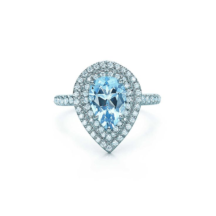 Tiffany Soleste:Diamantring<br>mit Aquamarin.