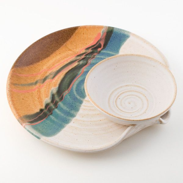 Stoneware Chip and Dip Platter with White Landscape glaze finish, featuring a stylized Southwestern landscape pattern. Since it's designed to be used, this beautiful chip and dip platter is both food and dishwasher safe. Blue Eagle's unique chip and dip platters are handmade in Woodstock, IL.