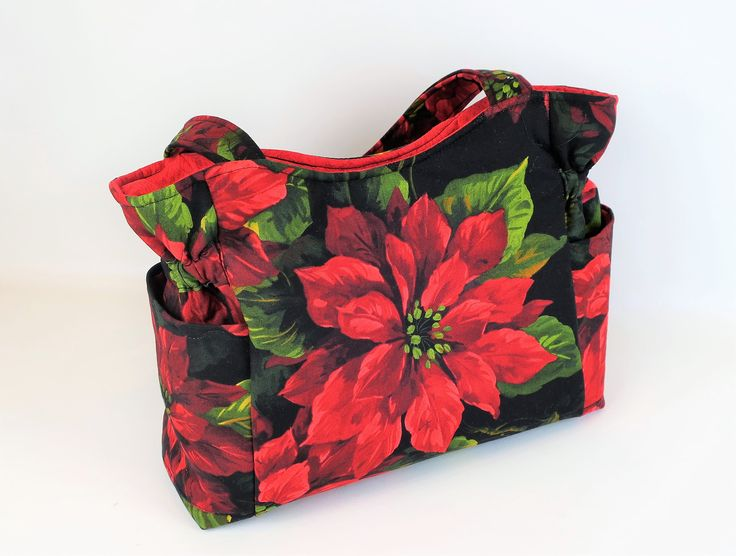 Poinsettia Red Bag, Quilted Handbag, Christmas Bag, Travel Handbag, Holiday Bag, Tote Purse, Top Handle Bag, Handmade Fabric Purse, Tote Bag by JustBeautiful161 on Etsy