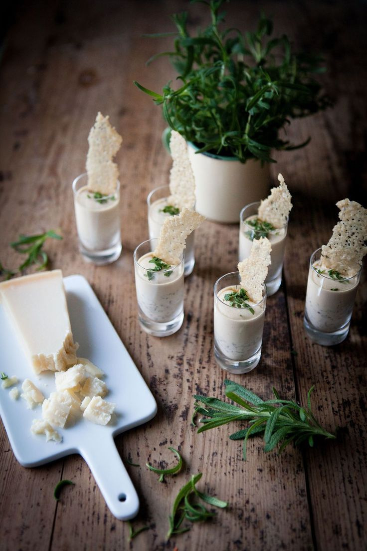 Panna cotta with rosemary and parmesan crisps
