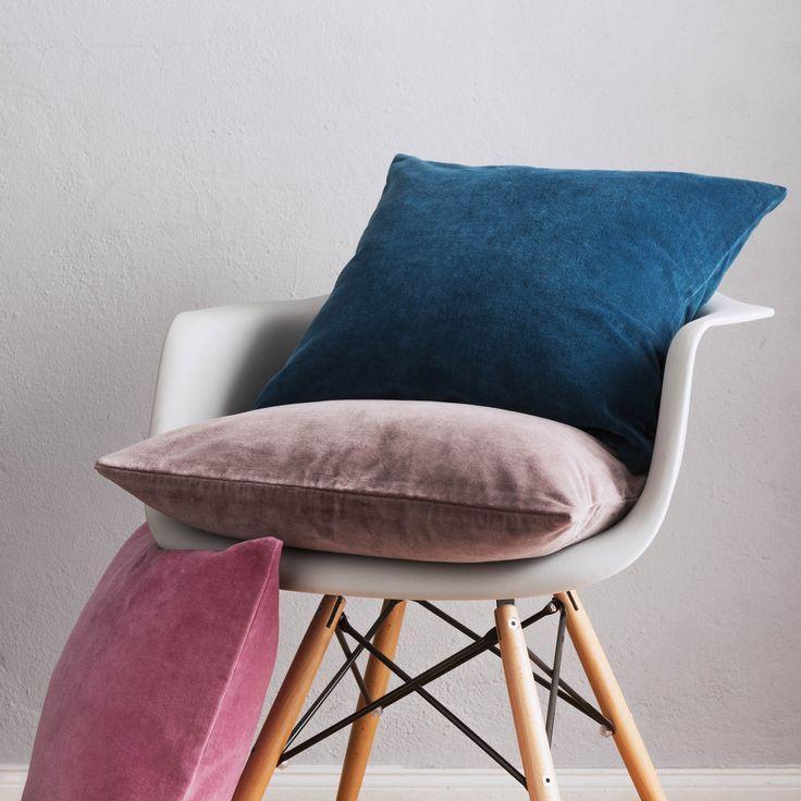 Winsford velvet cushions in three harmonious shades