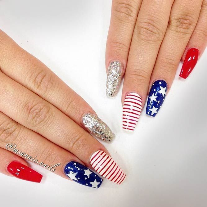 Coffin Nails Art With Glitter Accent Exquisite Memorial Day Nail Designs See More Https Naildes Patriotic Nails Design Usa Nails Coffin Nails Designs