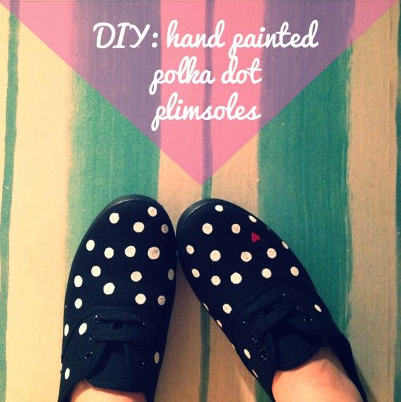Vivid Please: DIY: Hand Painted Polka Dot Plimsoles!