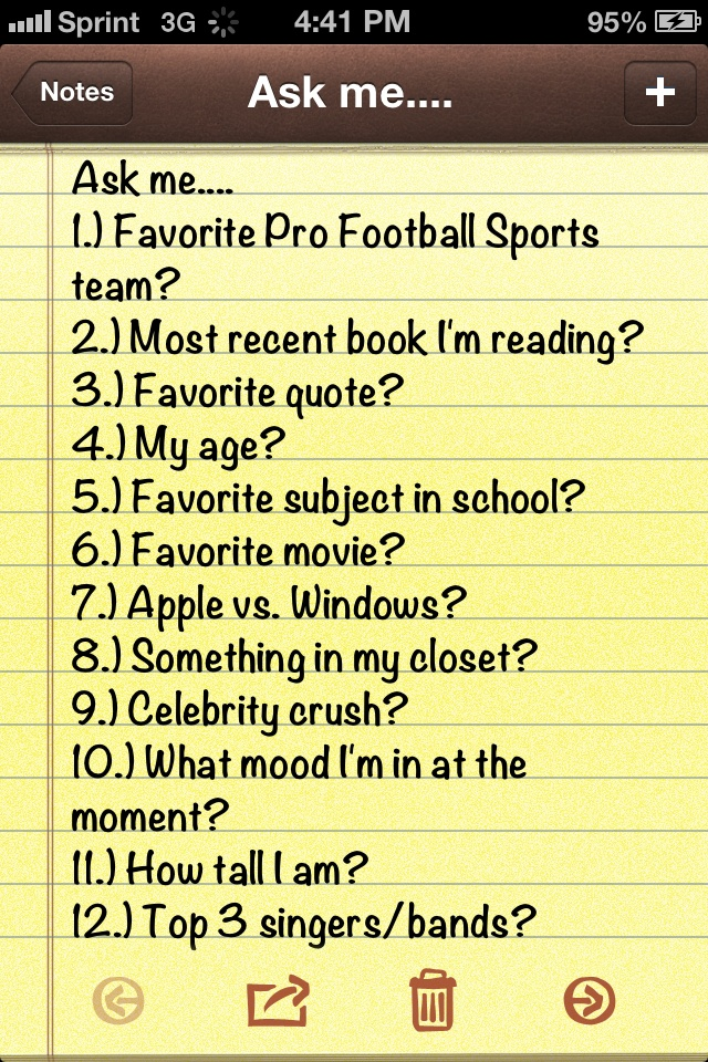 """1) philadelphia eagles 2) dead is not an option 3) just because your single doesn't mean your not strong  - niall horan 4) 13 5) english 6) One Direction This Is Us 7) apple 8) one direction books 9) NIALL HORAN 10) HAPPY 11) 5FT 3"""" 12) a....ONE DIRECTION b...NIALL HORAN c....HARRY STYLES"""