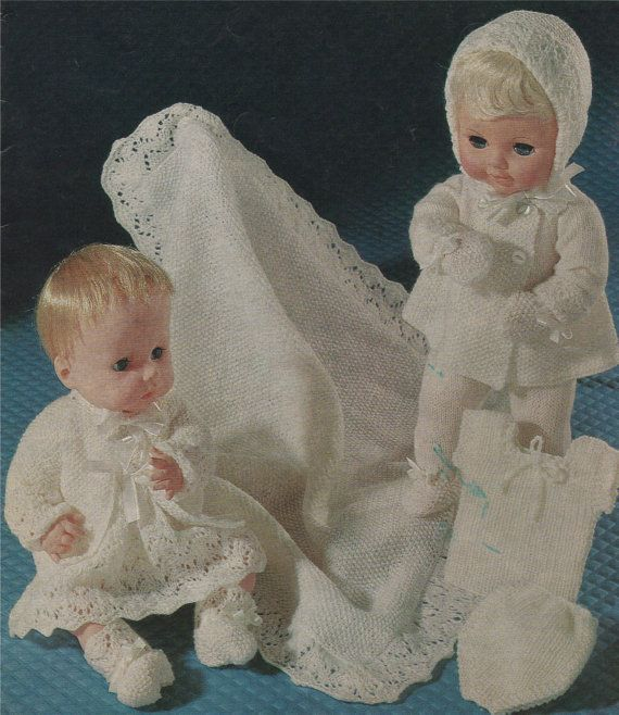 Dolls Clothes Knitting Pattern PDF for 16 inch high doll like Sasha or Suzie dolly Vintage Knitting Patterns for Dolls