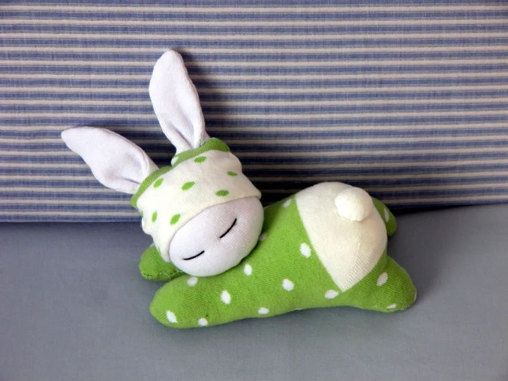Sleeping sock bunny in green dotted cloth, Easter bunny, Waldorf inspired rabbit, Baby bunny, Baby gift, Nursery decoration by Fresiadecor on Etsy