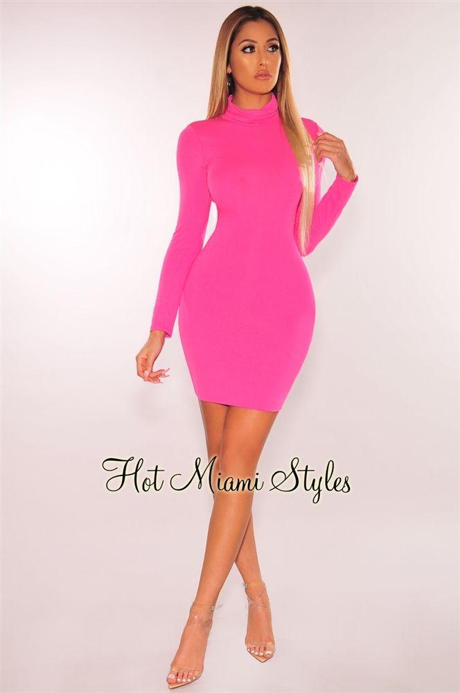 Neon Pink Turtleneck Long Sleeves Dress Long Sleeve Turtleneck Dress Turtle Neck Dress Outfit Neon Pink Dresses
