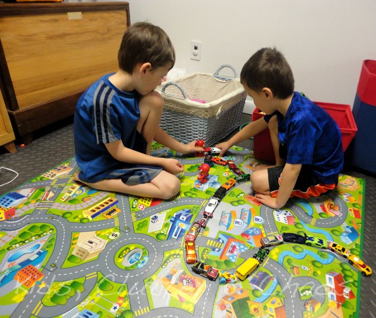 Big Brother and Little Brother could hardly wait to get their cars going places. Use toy cars, animals, little people and more to make this town come to life!