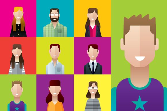 Profile icons casual people squares by Andres Moncayo on @creativemarket