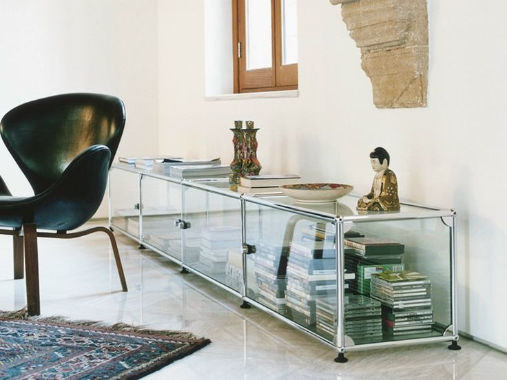 Sectional glass and steel sideboard USM Haller Home Collection by USM Modular Furniture