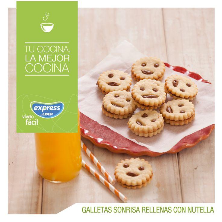 Galletas sonrisa rellenas con nutella.  #Recetario #Receta #RecetarioExpress #Lider #Food #Foodporn #Dessert