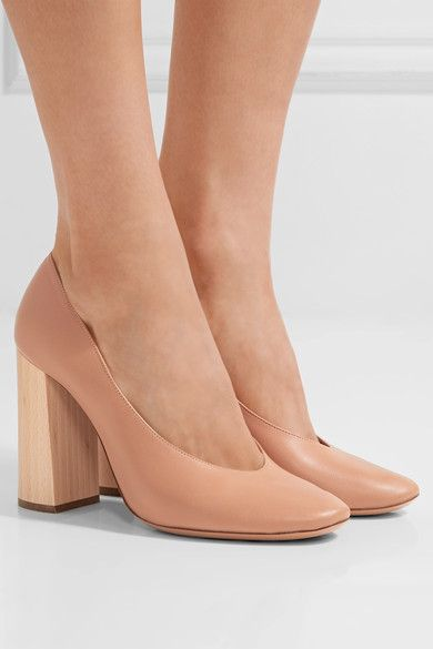 Heel measures approximately 70mm/ 3 inches Sand leather Slip on Designer color: Reef Shell Made in ItalySmall to size. See Size & Fit notes.