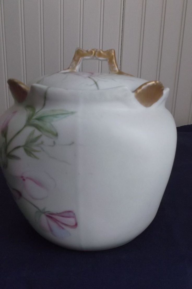 Here is the sweetest TV France porcelain tea caddy or biscuit jar that is signed on the bottom X' mas 1894, SCR.  Also bears the T  V France logo