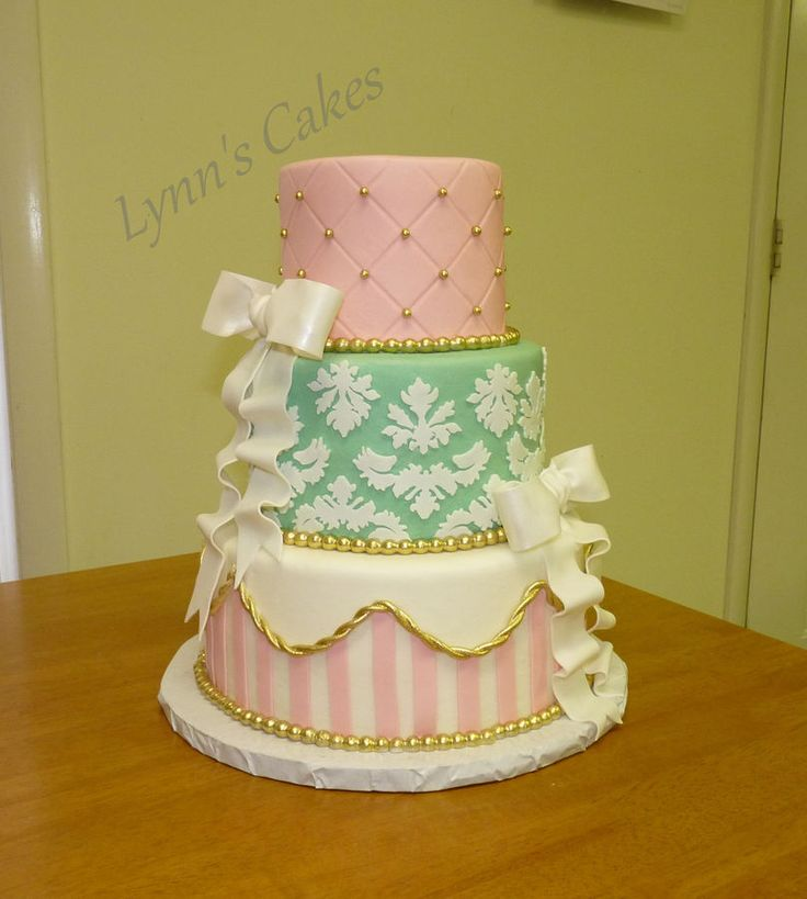 Pink, gold, mint green birthday cake.  Buttercream iced 3 tier cake with fondant accents.