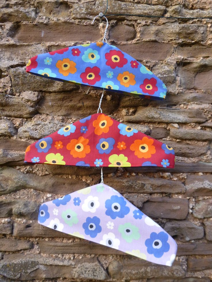 Use up fabric remnants and make these great coathanger covers. Makes putting your clothes away fun! Find out how to make at Fabric Mills http://www.fabricmills.co.uk/page26.html