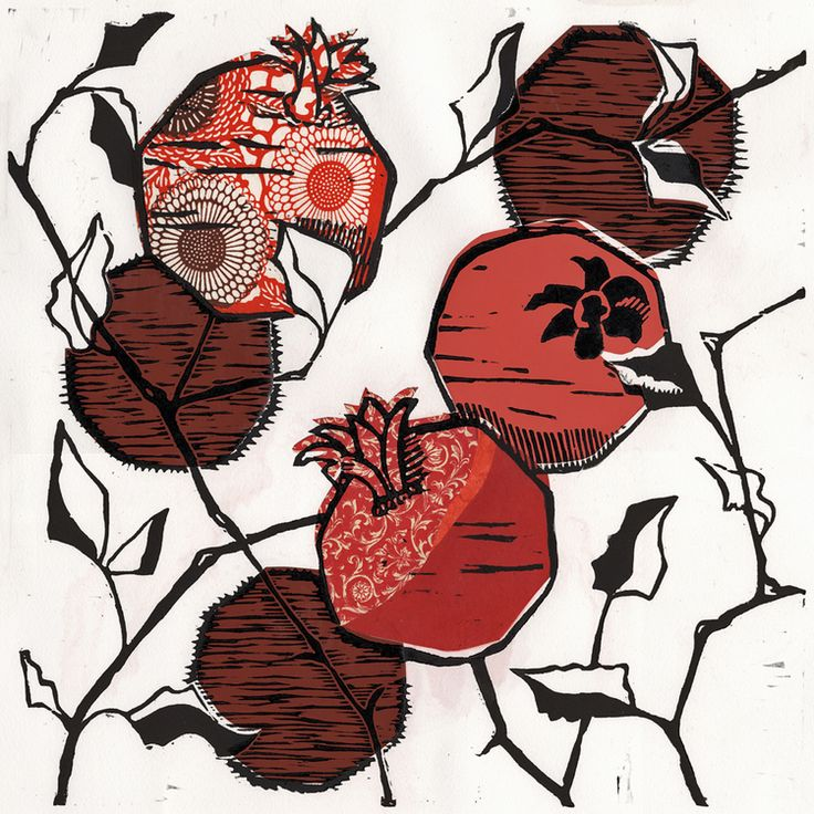 Ouida Touchon: botanical woodcut prints with chine colle
