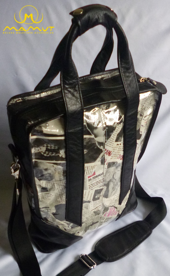REFERENCIA: MGC-09A  MATERIAL: Cuero, papel de revista, herrajes metálicos de lujo.  DIMENSIONES: 39cm * 32cm * 10cm  PRECIO: $100.000.