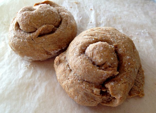 Wholemeal Spelt, garlic butter scrolls - delish and wheat-free!