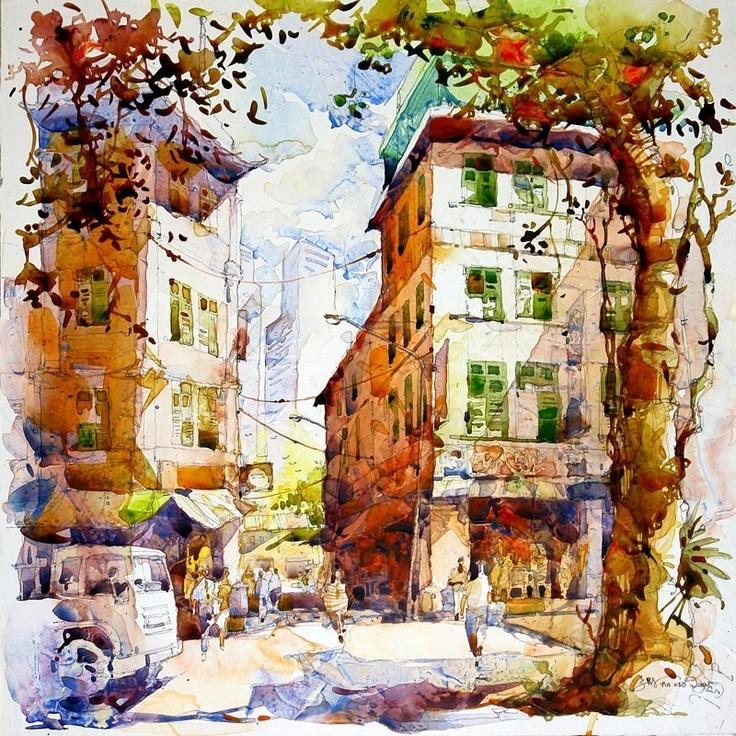 городской пейзаж акварелью картинки пробки