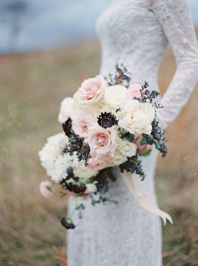 Peony, rose and scabiosa wedding bouquet: http://www.stylemepretty.com/little-black-book-blog/2016/11/14/elegant-winter-wedding-inspiration-winery/ Photography: Amelia Johnson - http://www.amelia-johnson.com/