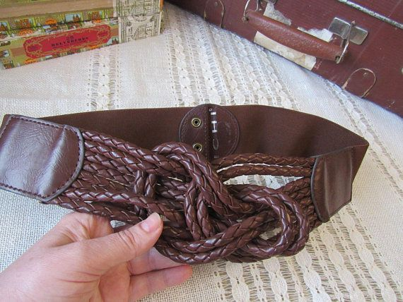 Brown elastic ICHI belt with decorative knot gift for girl