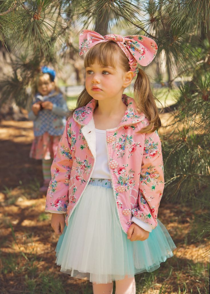 Our adorable Miss Stella is wearing the Natasha skirt in blue Ombré (I'm loving mixing-and-matching blue with pink this season) Paired with our Lamby Jacket made from painted pink floral hand-printed fabric and is warm and fleecy inside too! The long-sleeved white Flutter Tee is perfect with, well, with everything!
