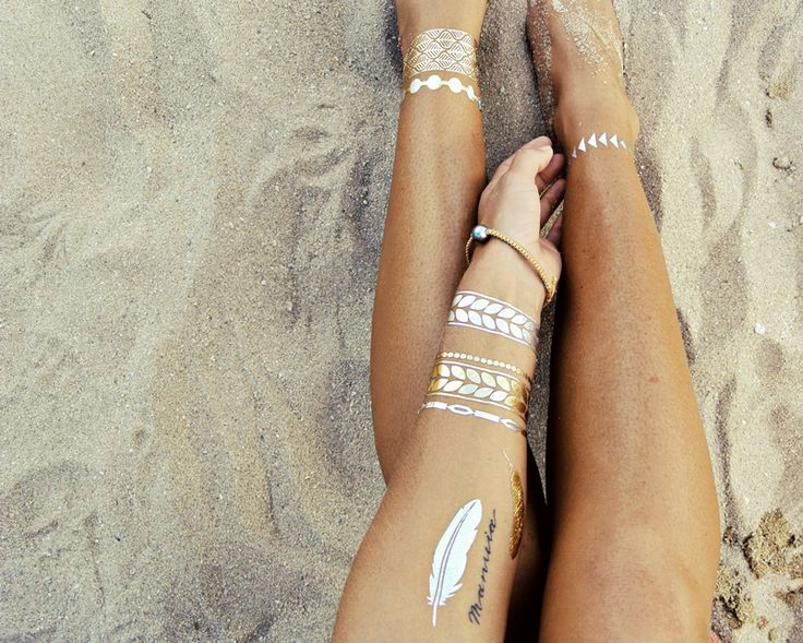 Temporary tattoos that have a metallic finish, and look like jewelry. So now I can wear & layer beach bling for 5-7 days, without fear of it falling off in the ocean.