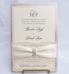 Glitter Invitation Wedding Invitation Elegant by LavenderPaperie1