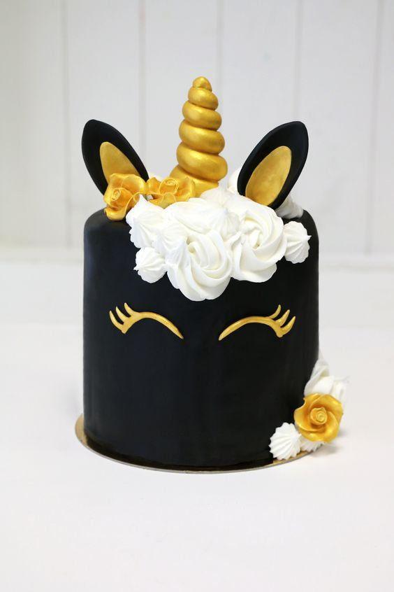 Gâteau licorne noire