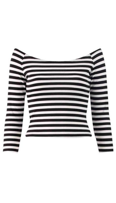 Cassie Nautical Bardot Off The Shoulder Striped Top from Bad Influence Fashion Boutique