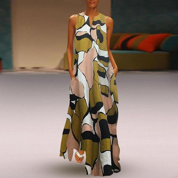 Plus Size Vintage Printed Cotton/Linen Split Sleeveless Maxi Dress