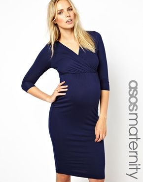 Image 1 ofASOS Maternity Pencil Dress With Wrap Front