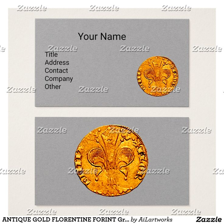ANTIQUE GOLD FLORENTINE FORINT Grey Paper Business Card #numismatics #coin #fiorino #lilly #fleurdelise #coin