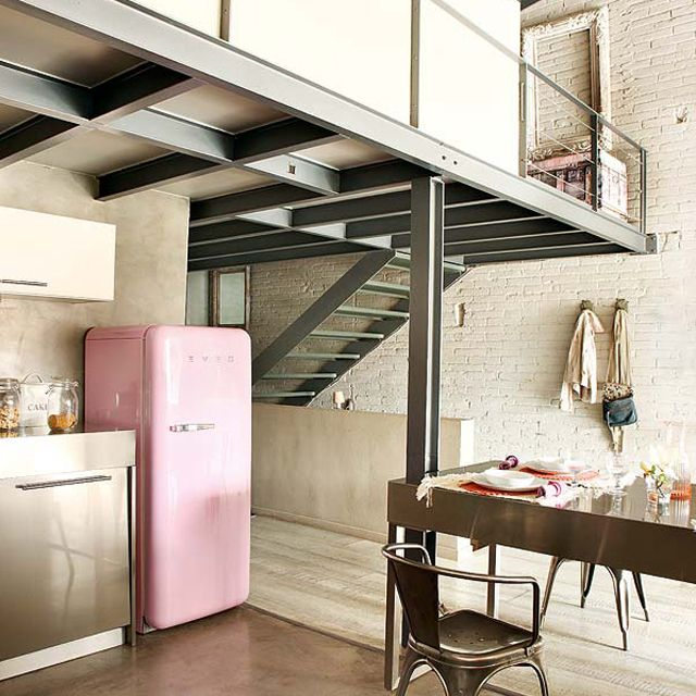 #industrial kitchen pink smeg fridge home