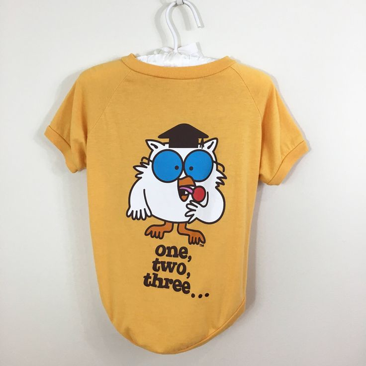Vintage Style Tootsie Pop Owl Graphic High Low Yellow T-Shirt, for Dogs by retrorocketbaby on Etsy